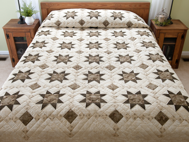 Olive Green and Beige Cross Country Quilt Photo 1