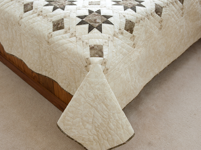 Olive Green and Beige Cross Country Quilt Photo 7