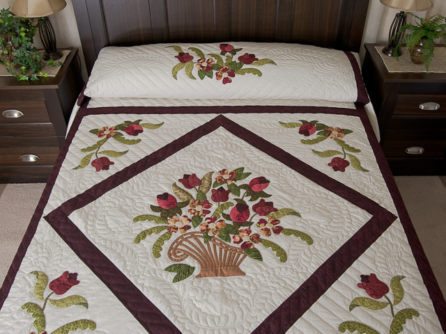 Burgundy, coral, green, ivory Queen Spring Basket Quilt Photo 1