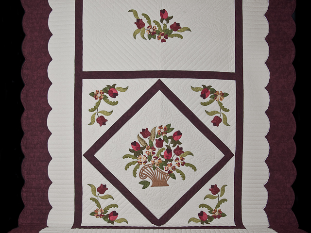 Burgundy, coral, green, ivory Queen Spring Basket Quilt Photo 2