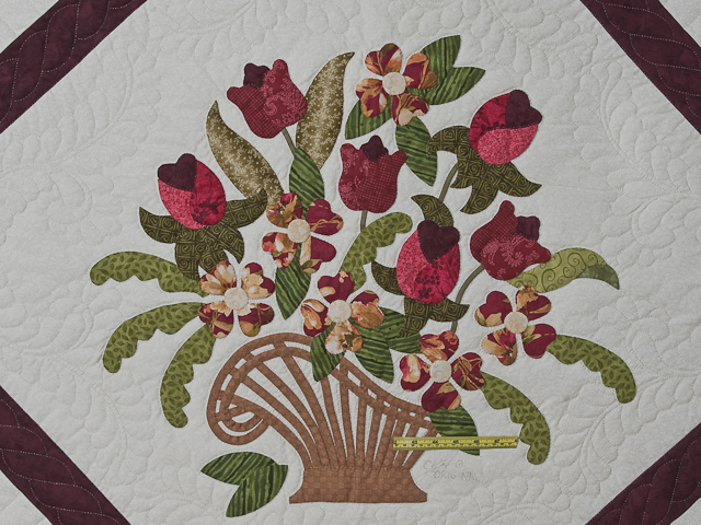 Burgundy, coral, green, ivory Queen Spring Basket Quilt Photo 4