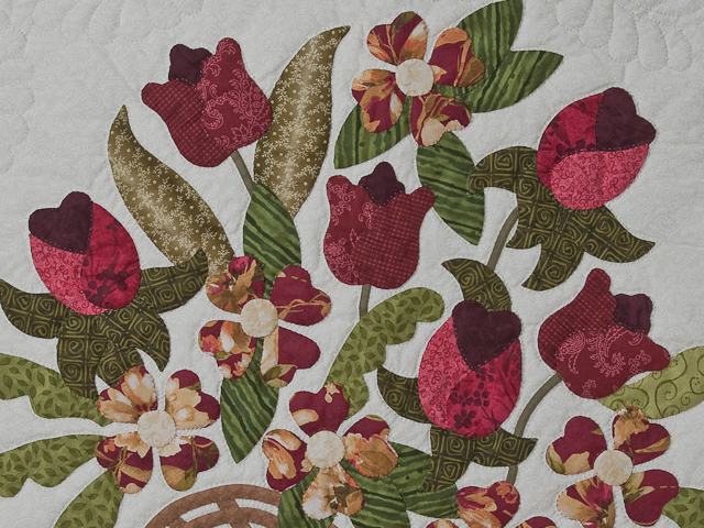 Burgundy, coral, green, ivory Queen Spring Basket Quilt Photo 5