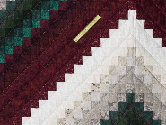 Spruce/Burgundy and Ivory/Gray Trip Around the World Colorsplash Quilt Photo 4