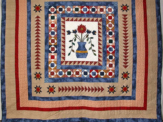 Blue Tan and Multi Pitcher of Flowers Quilt Photo 3