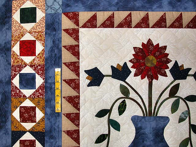 Blue Tan and Multi Pitcher of Flowers Quilt Photo 5