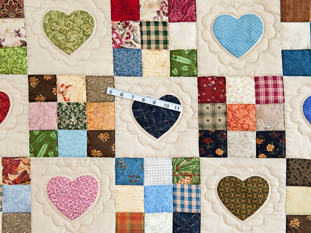Red and Multicolor Hearts and Nine Patch Quilt Photo 4