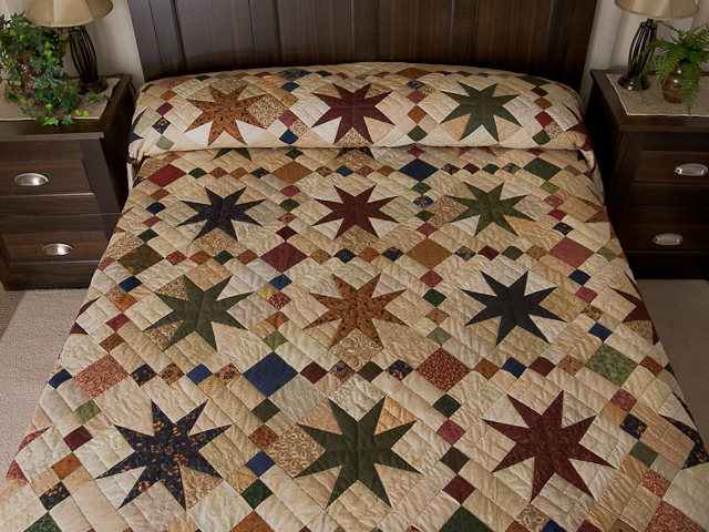 Queen Burgundy Golden Tan and Multi Stepping Through the Stars Quilt Photo 1