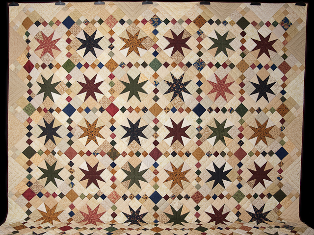 Queen Burgundy Golden Tan and Multi Stepping Through the Stars Quilt Photo 2