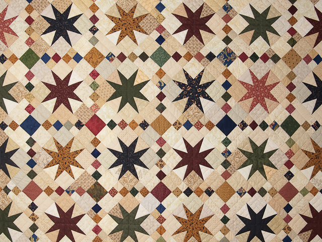 Queen Burgundy Golden Tan and Multi Stepping Through the Stars Quilt Photo 3