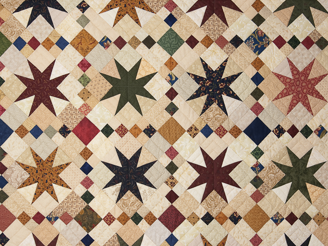 Queen Burgundy Golden Tan and Multi Stepping Through the Stars Quilt Photo 4