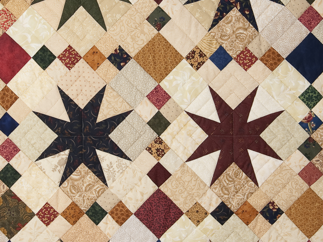 Queen Burgundy Golden Tan and Multi Stepping Through the Stars Quilt Photo 5