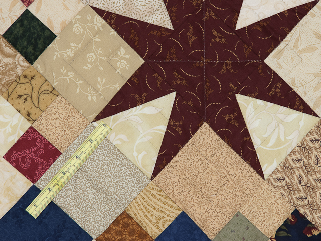 Queen Burgundy Golden Tan and Multi Stepping Through the Stars Quilt Photo 6