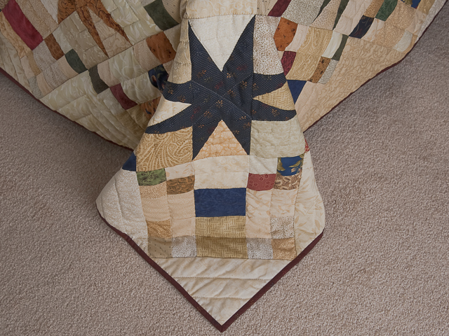 Queen Burgundy Golden Tan and Multi Stepping Through the Stars Quilt Photo 7