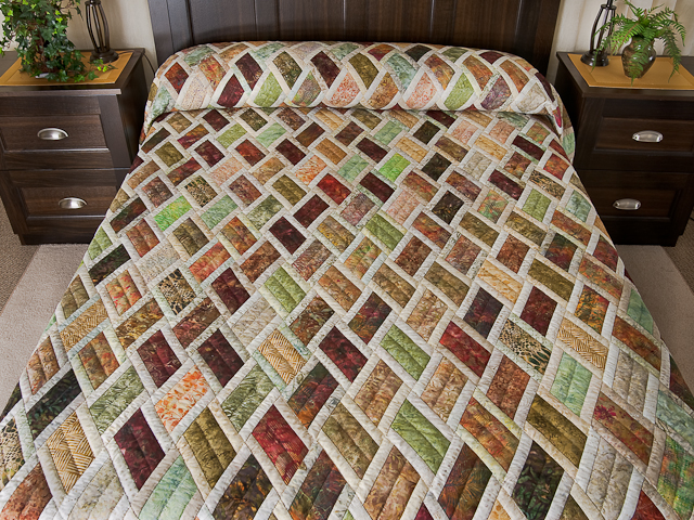 Batik Rust Green Gold and Cream Diamond Jubilee Queen Bed Quilt Photo 1