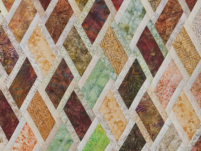 Batik Rust Green Gold and Cream Diamond Jubilee Queen Bed Quilt Photo 6