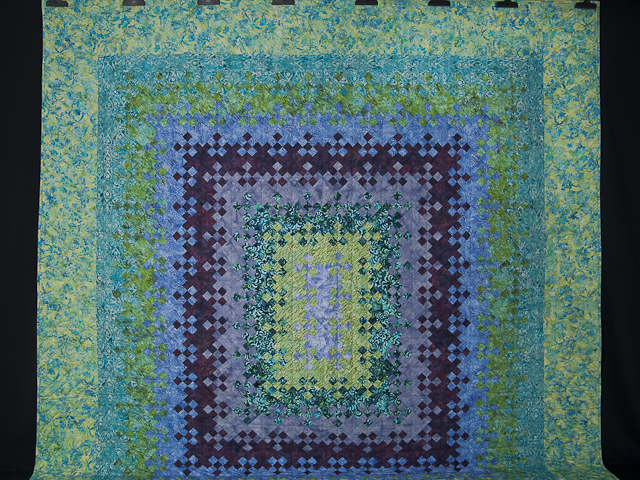 Batik Blooming Nine Patch Queen Size Quilt Photo 2