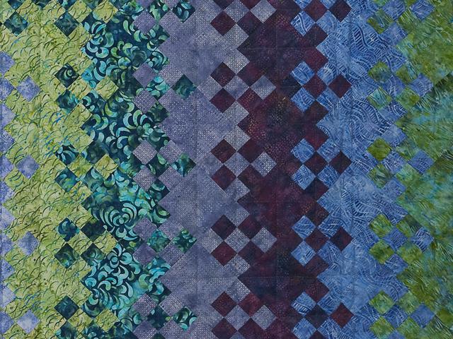 Batik Blooming Nine Patch Queen Size Quilt Photo 5