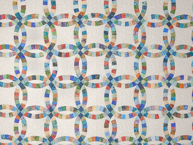 Pastel Double Wedding Ring Quilt Queen Size Photo 3