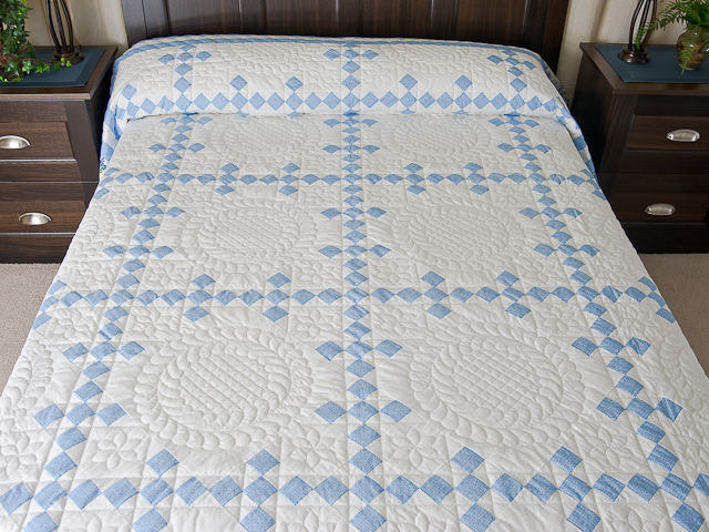 Pastel Blue and Ivory Nine Patch Quilt Photo 1