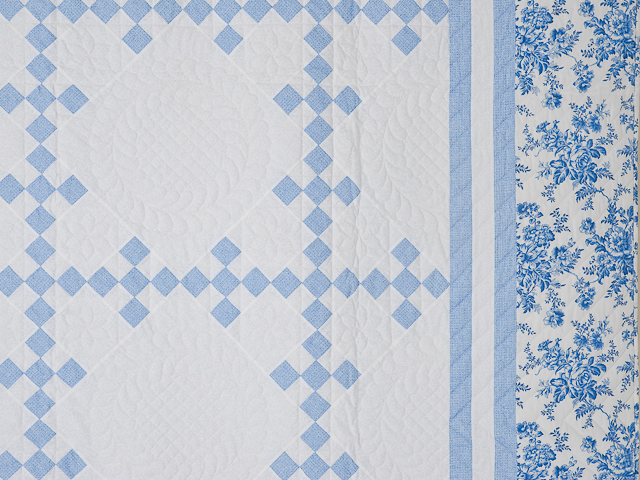 Pastel Blue and Ivory Nine Patch Quilt Photo 5