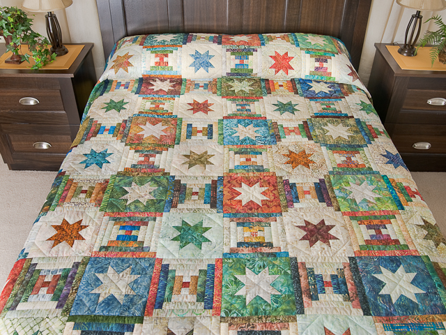 Queen Hand Painted Courthouse Log Cabin Stars Quilt Photo 1
