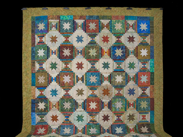 Queen Hand Painted Courthouse Log Cabin Stars Quilt Photo 2