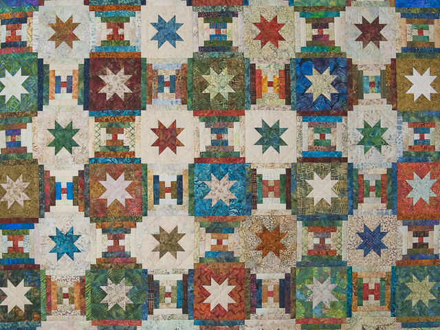 Queen Hand Painted Courthouse Log Cabin Stars Quilt Photo 3