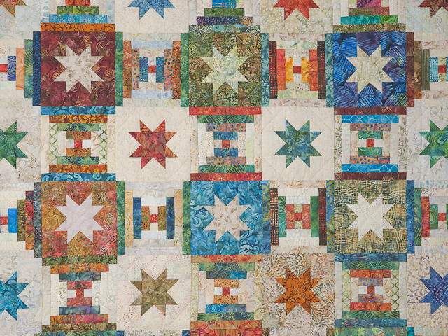 Queen Hand Painted Courthouse Log Cabin Stars Quilt Photo 4