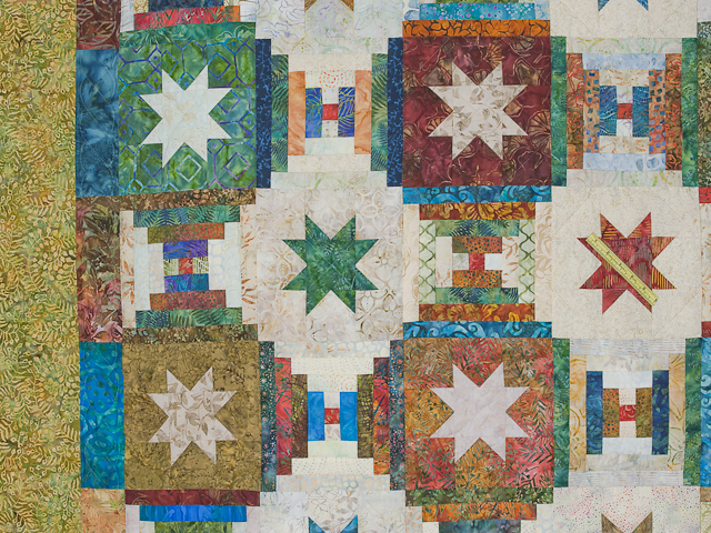 Queen Hand Painted Courthouse Log Cabin Stars Quilt Photo 5