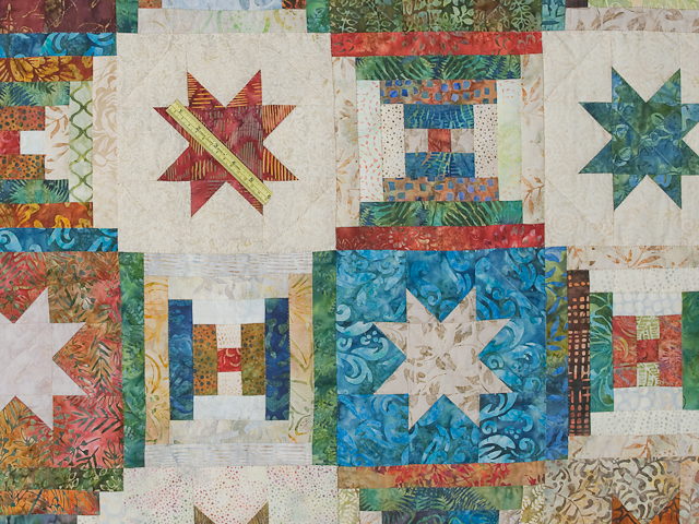 Queen Hand Painted Courthouse Log Cabin Stars Quilt Photo 6