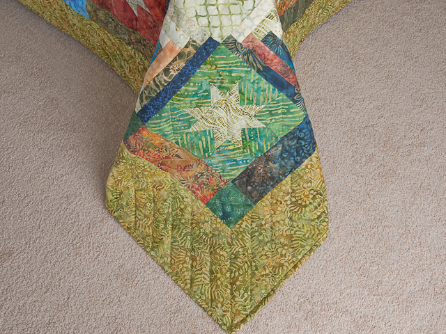 Queen Hand Painted Courthouse Log Cabin Stars Quilt Photo 7