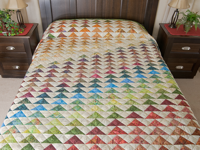 Hand Painted Rainbow Pyramid Quilt Queen Size Photo 1