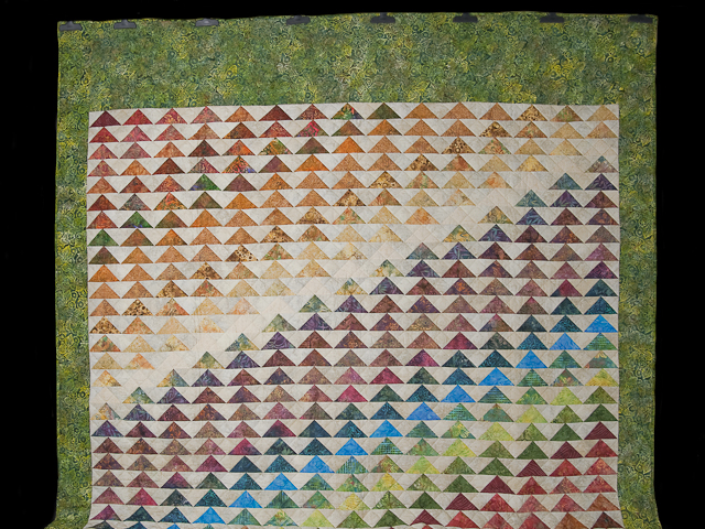 Hand Painted Rainbow Pyramid Quilt Queen Size Photo 2