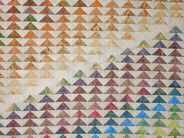 Hand Painted Rainbow Pyramid Quilt Queen Size Photo 3