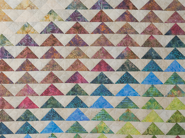 Hand Painted Rainbow Pyramid Quilt Queen Size Photo 4