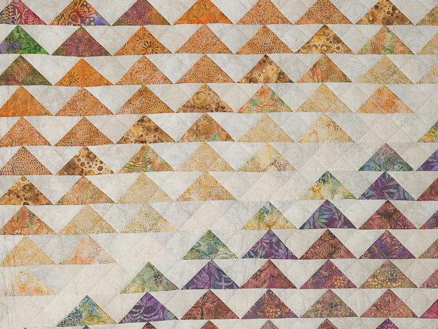 Hand Painted Rainbow Pyramid Quilt Queen Size Photo 5