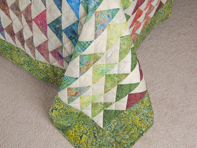 Hand Painted Rainbow Pyramid Quilt Queen Size Photo 7