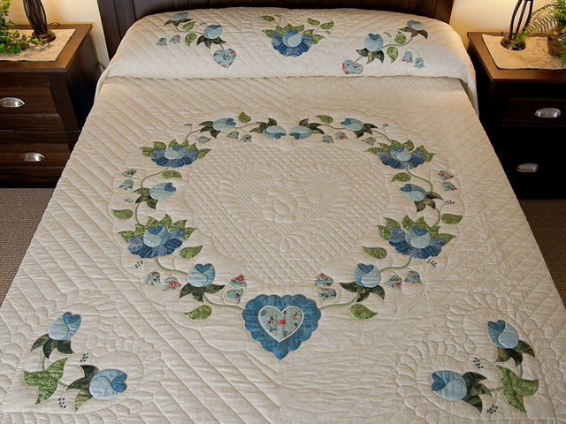 Soft Blue and Green Heart of Roses Quilt in Queen Photo 1