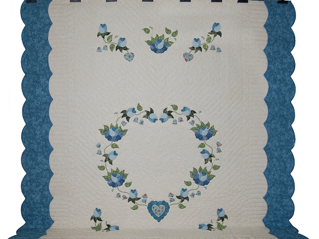 Soft Blue and Green Heart of Roses Quilt in Queen Photo 2