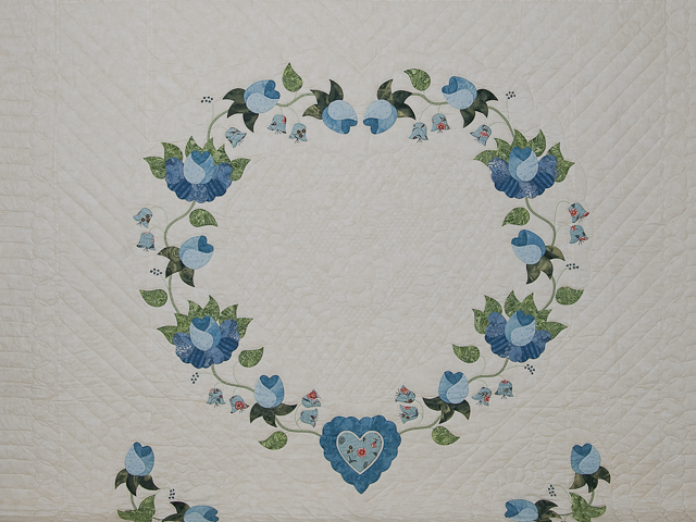 Soft Blue and Green Heart of Roses Quilt in Queen Photo 3