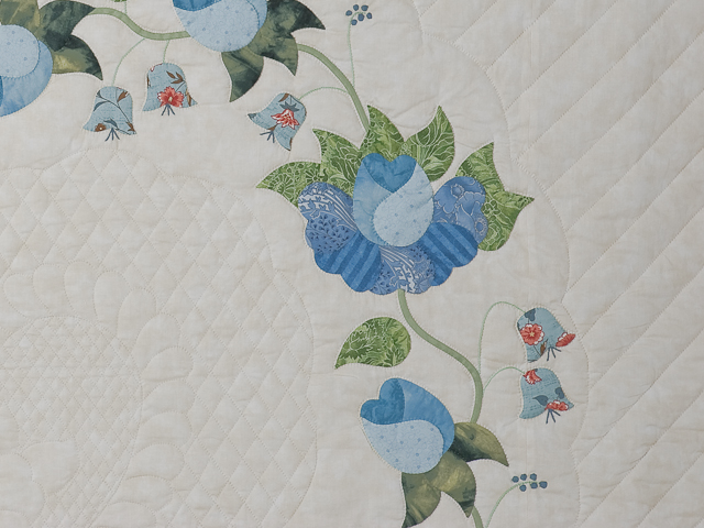 Soft Blue and Green Heart of Roses Quilt in Queen Photo 4