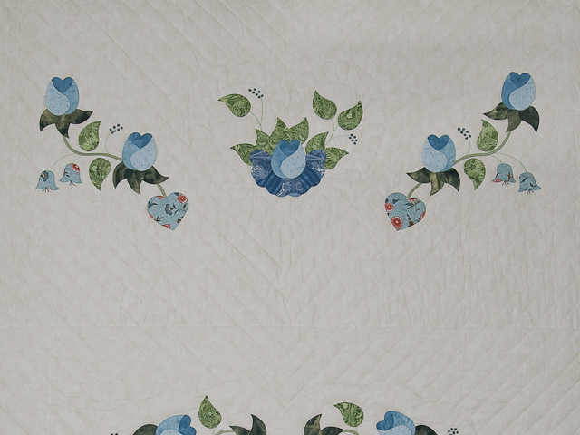Soft Blue and Green Heart of Roses Quilt in Queen Photo 5