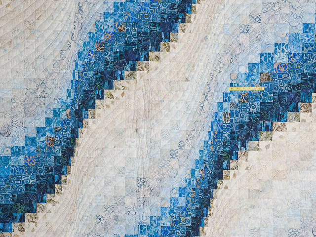 King Hand Painted Bargello Wave Quilt Photo 4