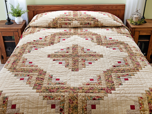 Red and Tan Log Cabin Quilt Photo 1