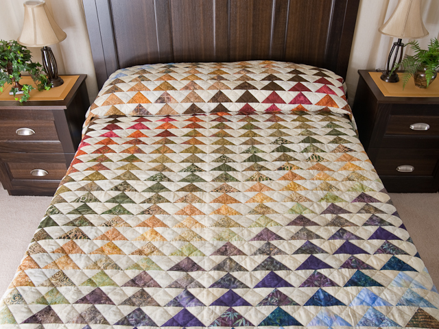 Hand Painted Rainbow Pyramid Quilt King Size Photo 1