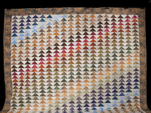 Hand Painted Rainbow Pyramid Quilt King Size Photo 2