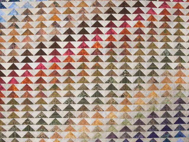 Hand Painted Rainbow Pyramid Quilt King Size Photo 3