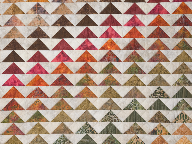Hand Painted Rainbow Pyramid Quilt King Size Photo 4