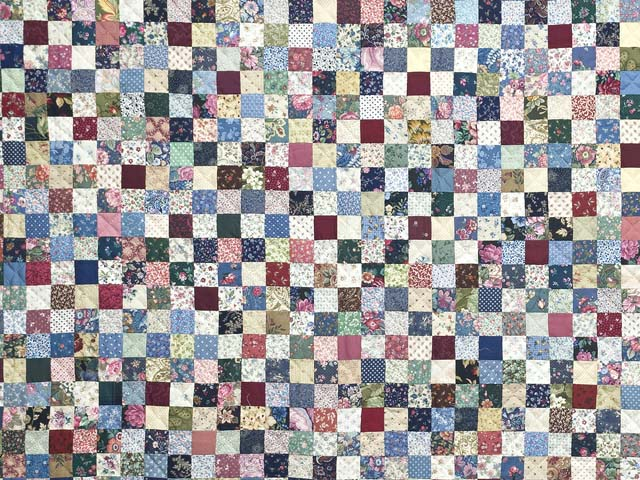 Navy Burgundy and Multicolor Hit or Miss Quilt Photo 3