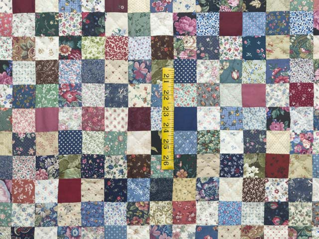 Navy Burgundy and Multicolor Hit or Miss Quilt Photo 4